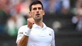 Djokovic celebrando un punto en Wimbledon