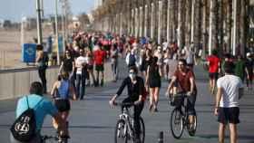 El Paseo Marítimo de Barcelona en plena pandemia.