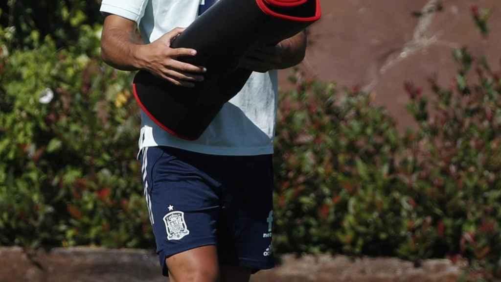 Marco Asensio, durante un entrenamiento de la Selección