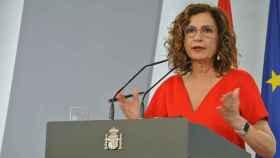 María Jesús Montero, ministra de Hacienda y portavoz, en rueda de prensa tras la cita de Ayuso con Sánchez.