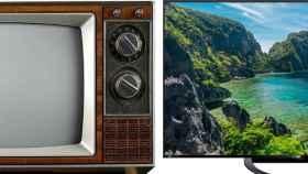 Un televisor de los años 80 frente a uno actual.