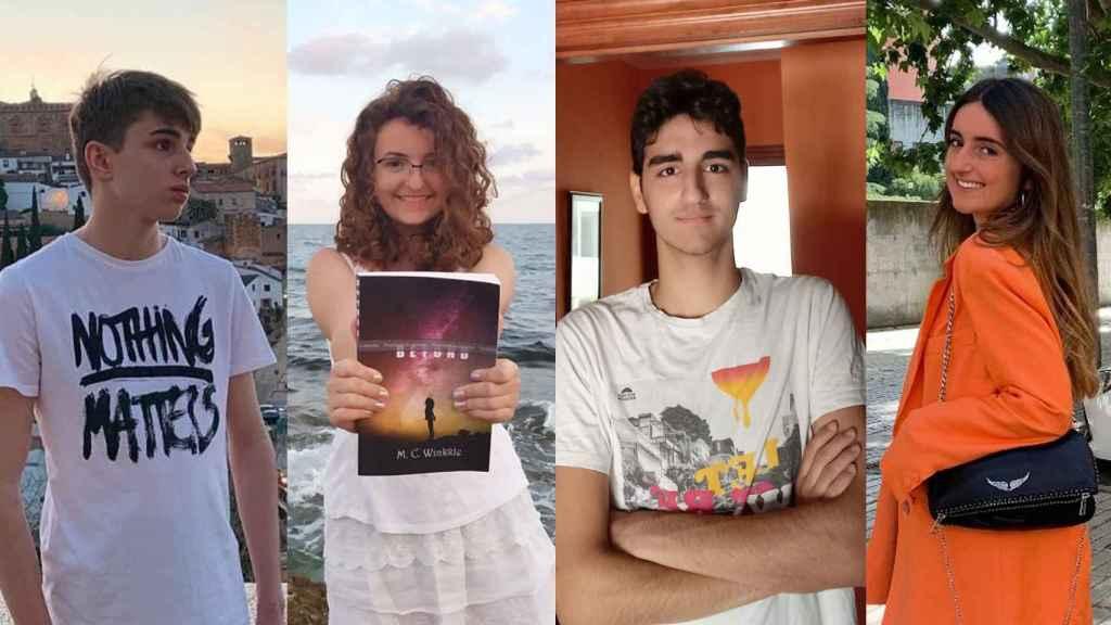 Los cuatro estudiantes de 14 en la EBAU.