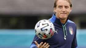 Roberto Mancini, en el entrenamiento de la selección de Italia previo a la final de la Eurocopa 2020