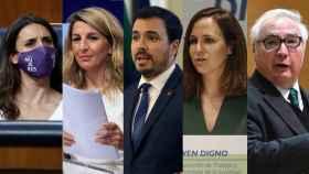 Irene Montero (igualdad), Yolanda Díaz (Trabajo), Alberto Garzón (Consumo), Ione Belarra (Derechos Sociales) y Manuel Castells (Universidades).