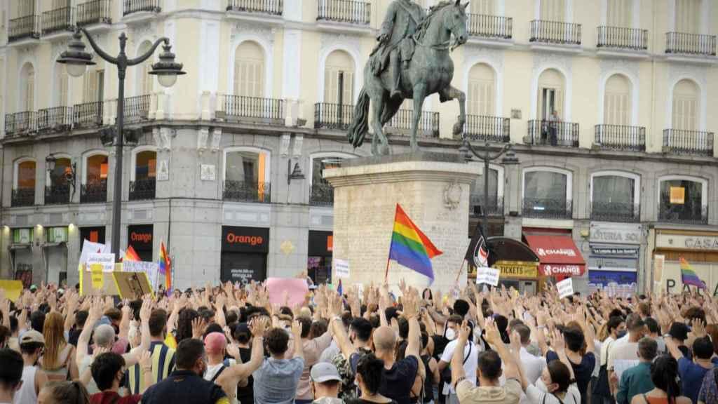 Los manifestantes, este domingo en Madrid.