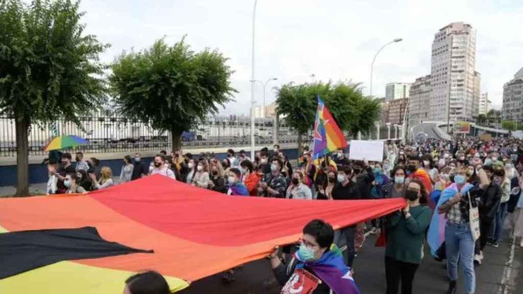Concentración en La Coruña por la muerte de Samuel Luiz.