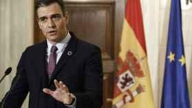 Pedro Sánchez, durante una comparecencia de prensa en Atenas.