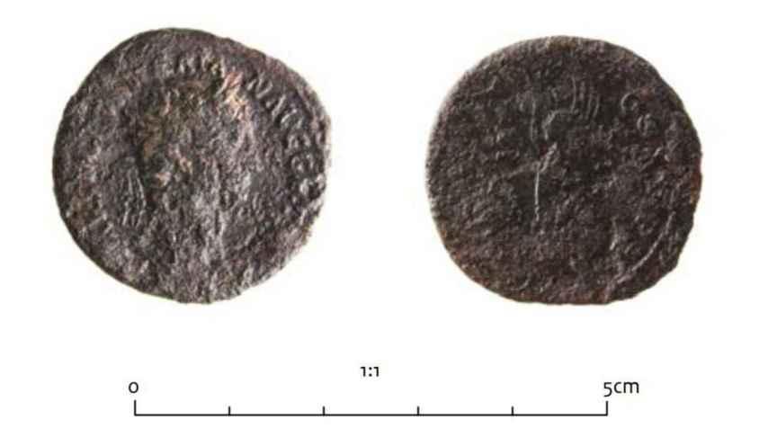 Moneda de la época trajana con la efigie de la diosa Victoria