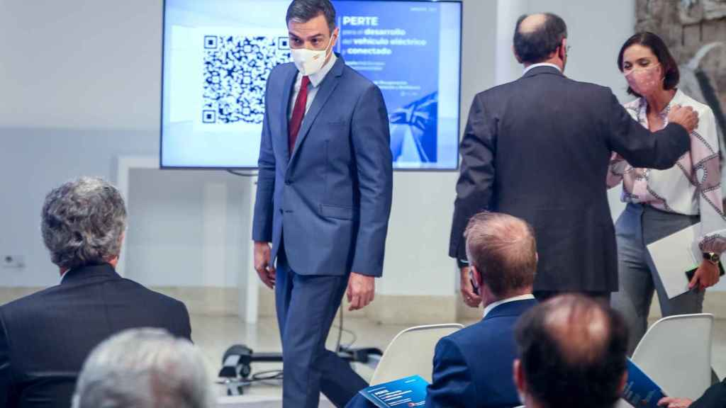 Pedro Sánchez, en su llegada a la presentación del PERTE del vehículo eléctrico y conectado.