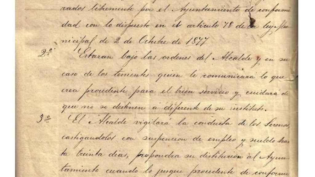 El reglamento del Ayuntamiento de Crevillente sobre el sereno con fecha de 1884.