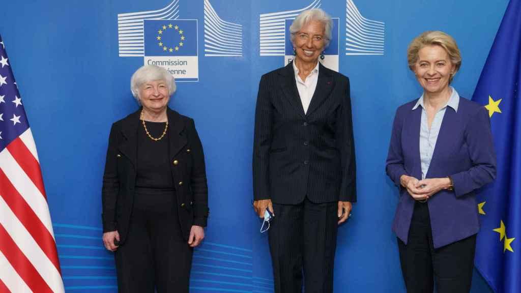 Janet Yellen se ha reunido este lunes en Bruselas con Christine Lagarde y Ursula von der Leyen