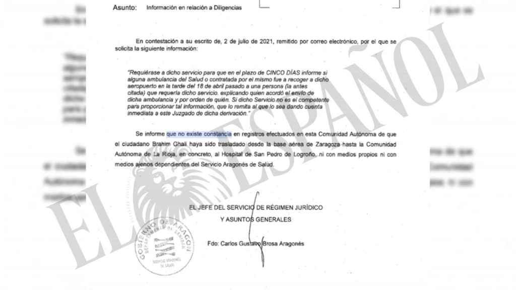 La respuesta del servicio de salud aragonés al juez.