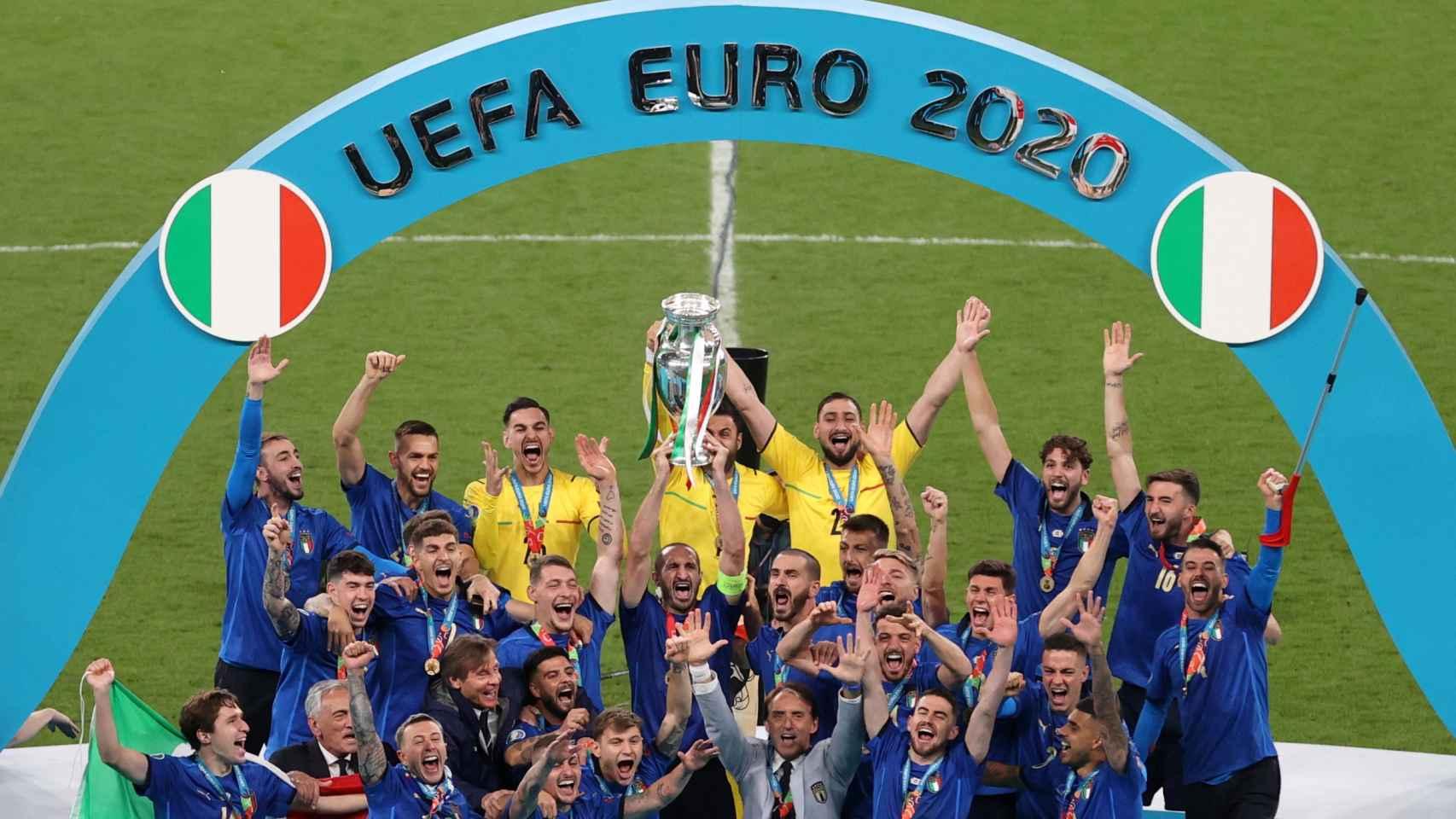 La celebración de Italia después de ganar la Eurocopa a Inglaterra