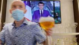 El presidente de Francia, Emmanuel Macron, durante su alocución este miércoles.