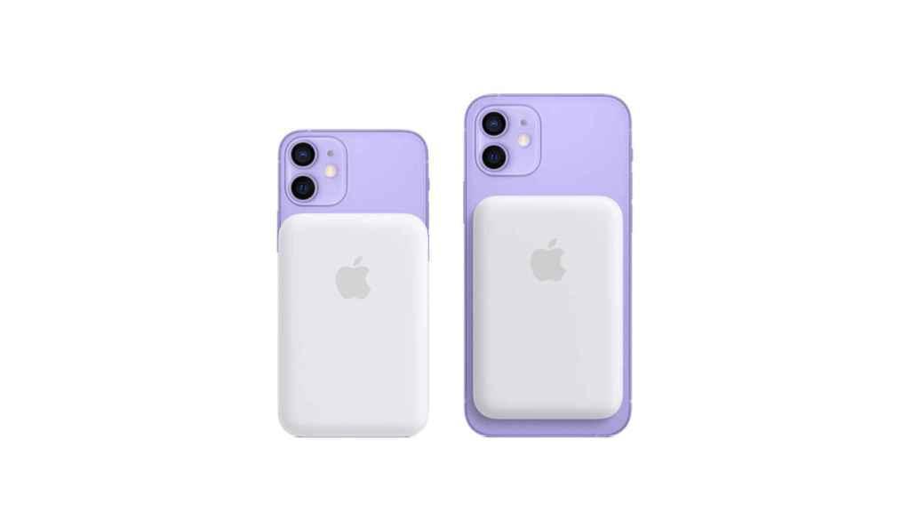 iPhone 12 estándar con la batería acoplada.