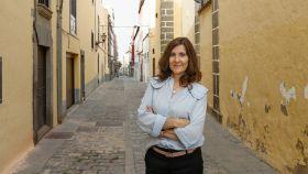 La novelista Mayte Uceda, durante la presentación de su nueva novela en Las Palmas.