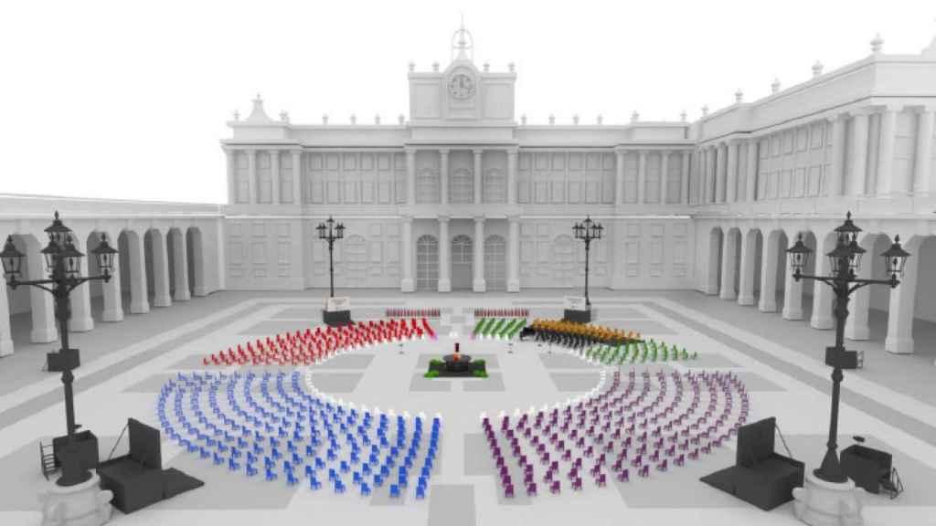Recreación por ordenador de la plaza de la Armería del Palacio Real, en el homenaje de 2021.