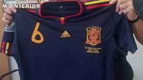 La camiseta que Andrés Iniesta vistió durante la final del Mundial de 2010 en Sudáfrica.
