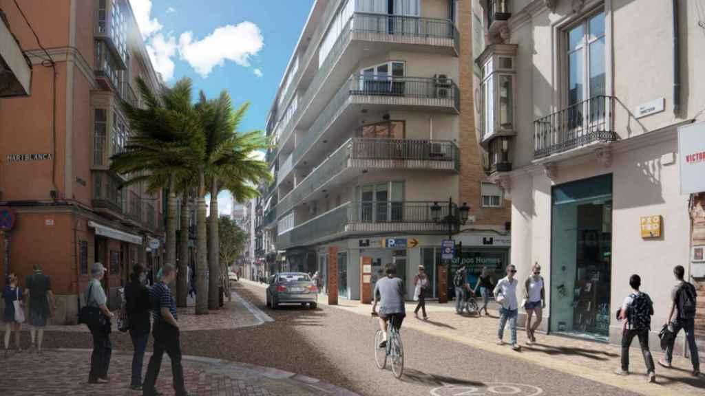 La calle Álamos, a la altura de Buenaventura.
