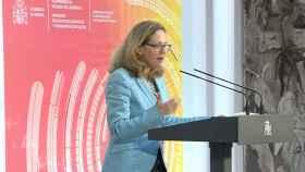 Nadia Calviño, vicepresidenta primera del Gobierno y ministra de Asuntos Económicos y Transformación Digital, durante la presentación de la Carta de Derechos Digitales.