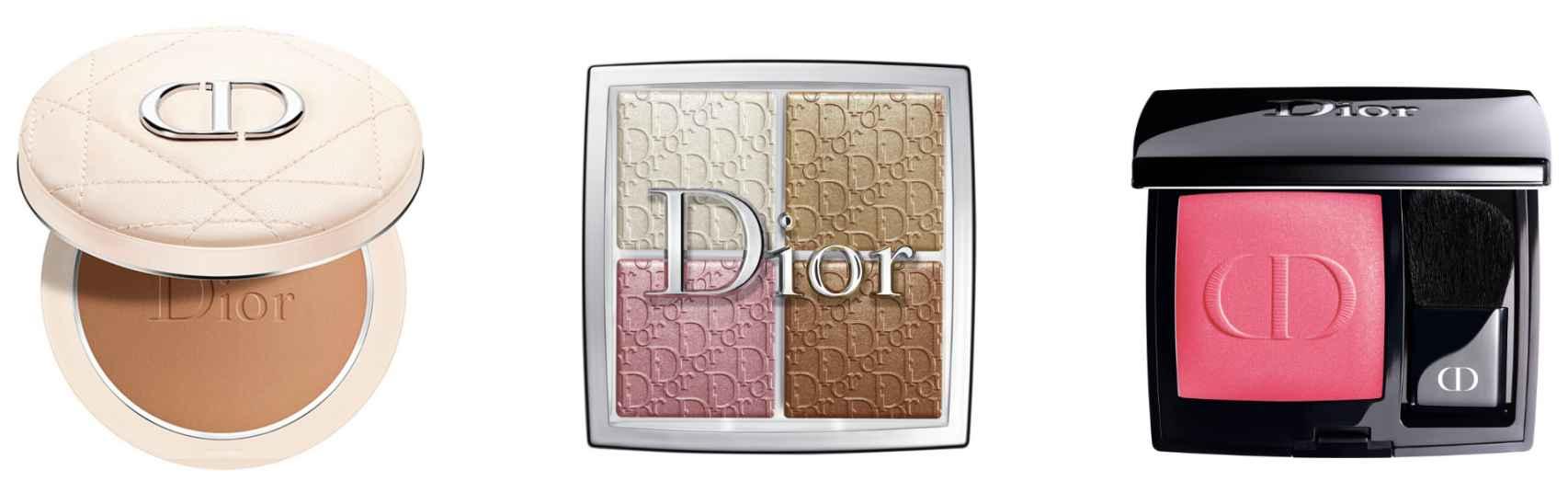 Polvos, iluminador y colorete de Dior.