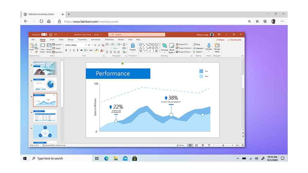 Windows 365 incluirá todas las aplicaciones del entorno 365, como PowerPoint.