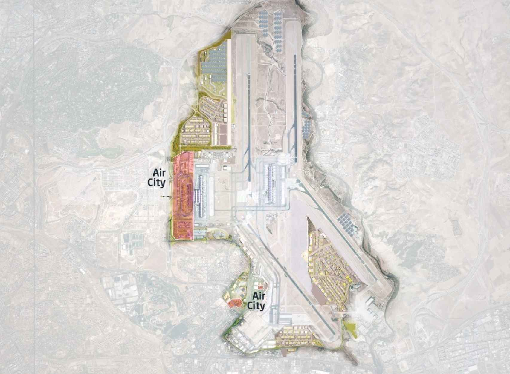 Plano del desarrollo de la Air City de Barajas. Fuente: Aena.