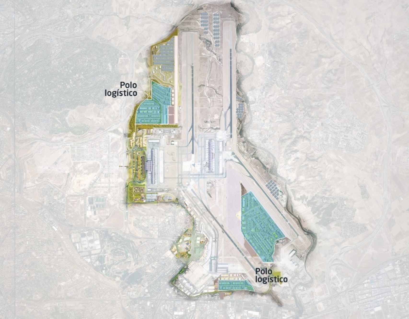 Plano del desarrollo del polo logístico de Barajas. Fuente: Aena.