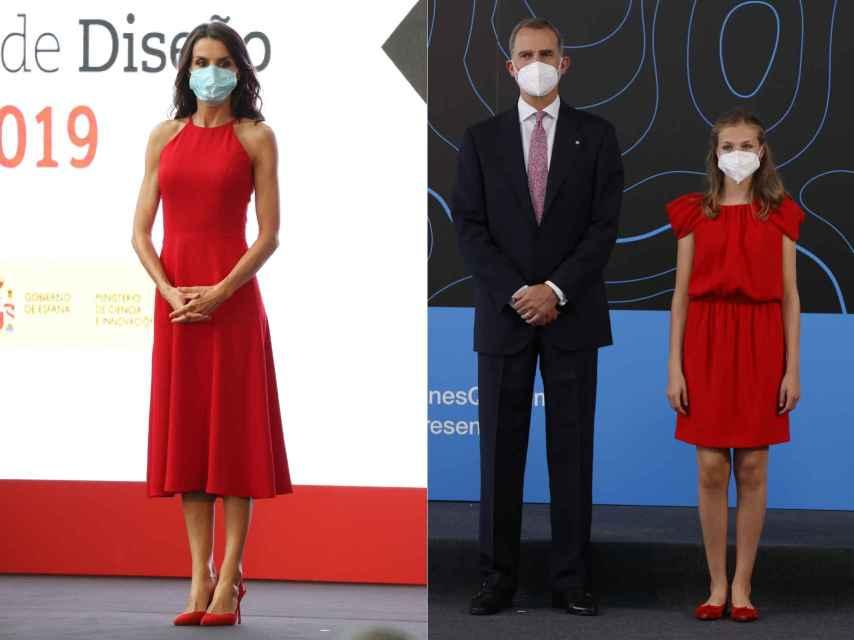 Letizia, de rojo, en julio de 2020. Leonor, del mismo color, en julio de 2021.