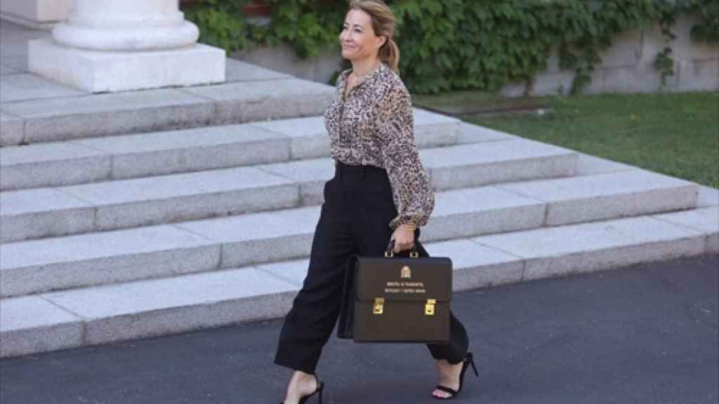 La ministra Raquel Sánchez llegando a Moncloa.