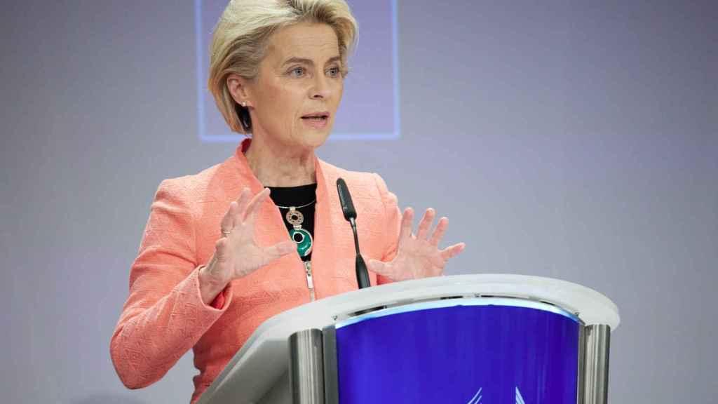 La presidenta de la Comisión, Ursula von der Leyen, durante la rueda de prensa de este miércoles