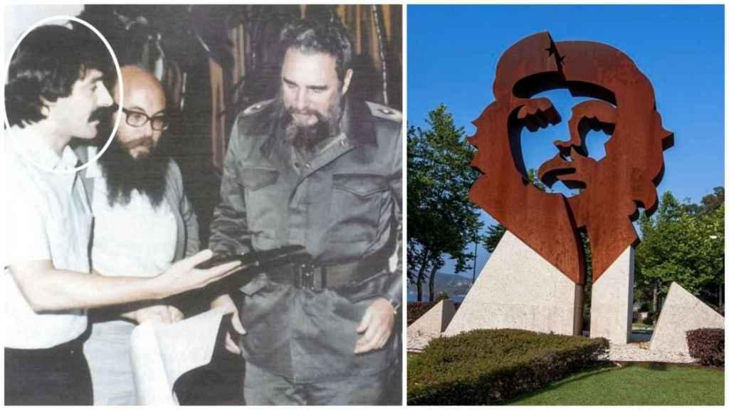 Gelo durante un encuentro con Fidel Castro (izquierda) y la rotonda con la imagen del Che Guevera en Oleiros.