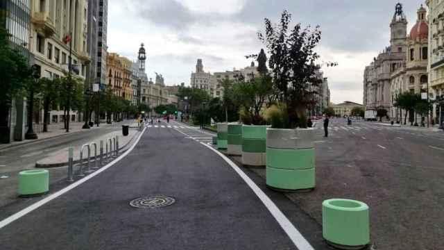 Imagen de la peatonalización provisional de la Plaza del Ayuntamiento de Valencia. EE