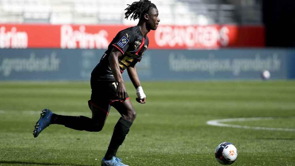 Eduardo Camavinga, durante un partido con el Stade Rennais