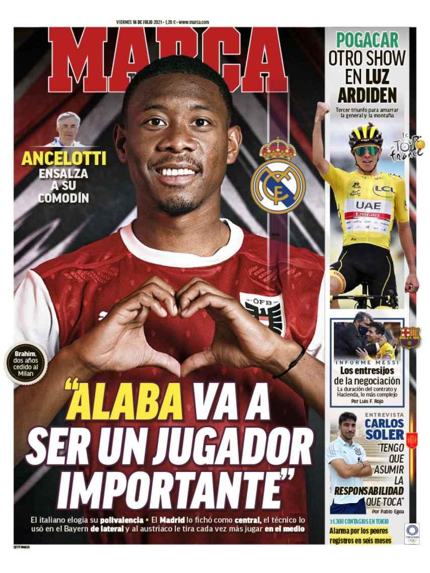 La portada del diario MARCA (16/07/2021)