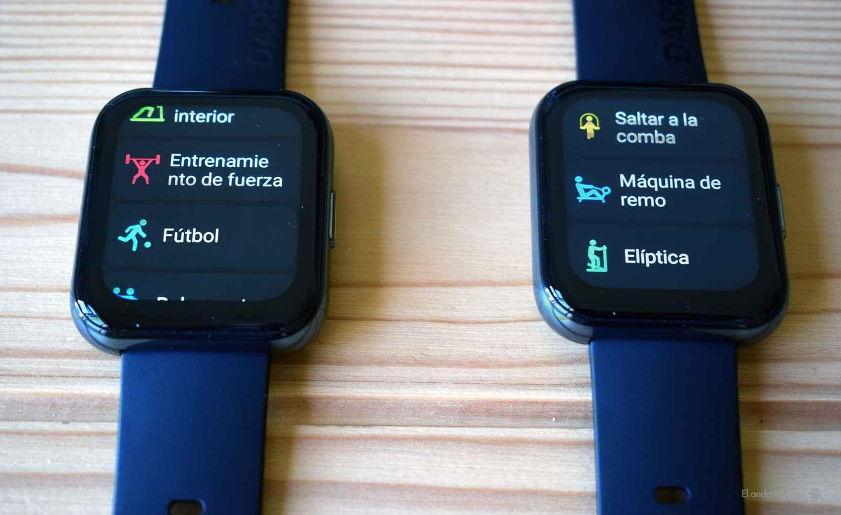 Algunos de los modos deportivos del Realme Watch 2 Pro