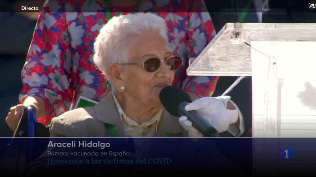 Araceli Hidalgo en el homenaje de Estado a las víctimas de la Covid.