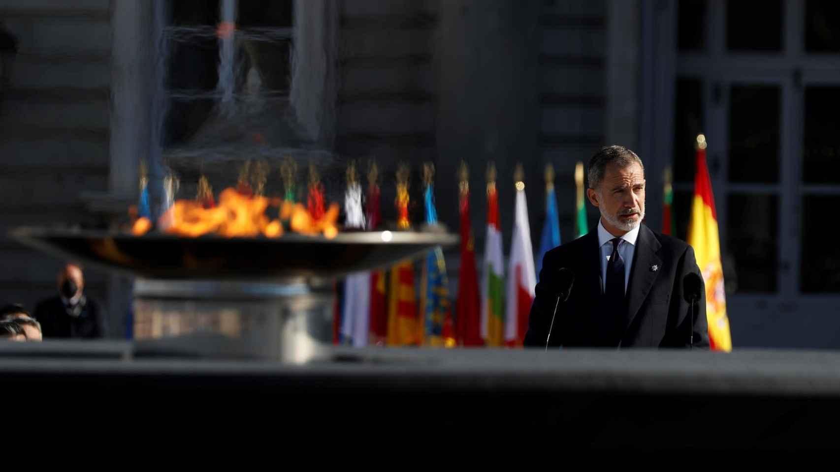 El rey Felipe VI en el homenaje de Estado a las víctimas de la Covid. Efe