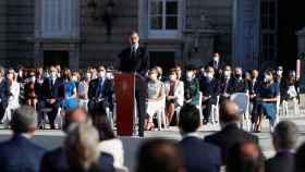 El rey Felipe durante el homenaje a las víctimas de la Covid. Efe