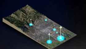 Recreación virtual del funcionamiento de los sensores de Divirod.