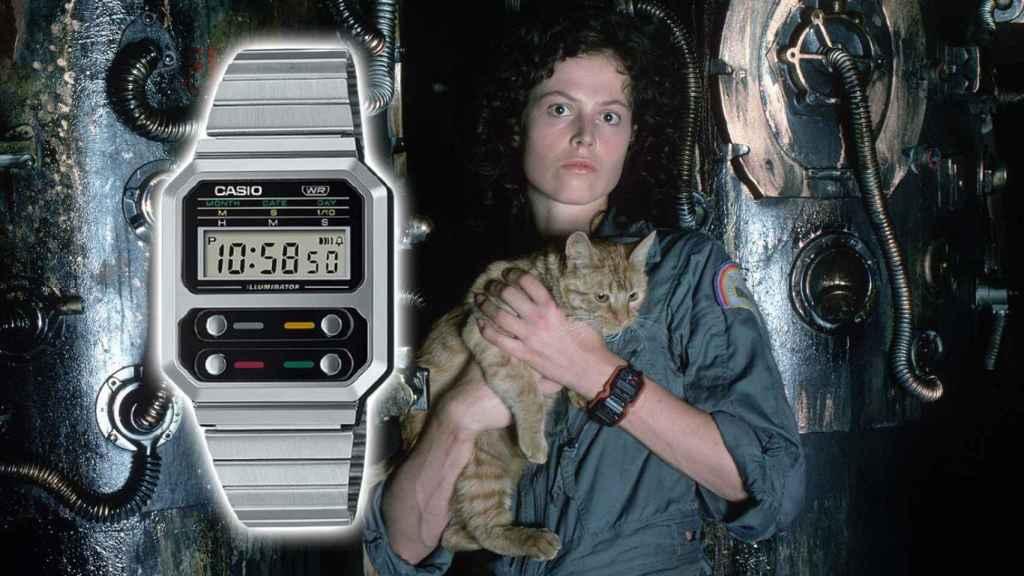 Teniente Ellen Ripley con el reloj Casio F-100.