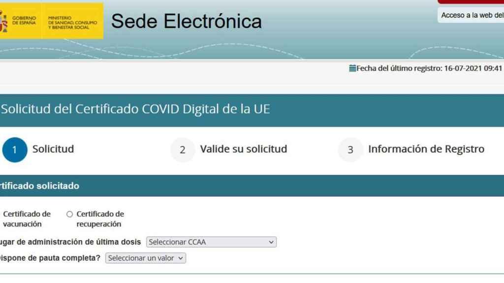 Sede electrónica para solicitar el pasaporte COVID