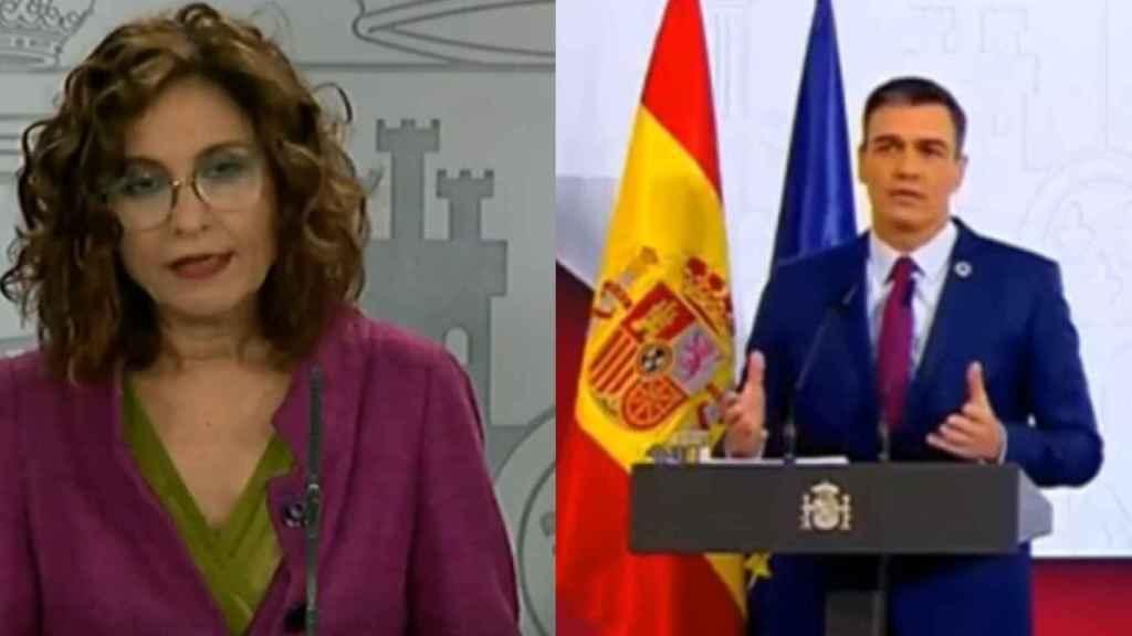 María Jesús Montero (izda) y Pedro Sánchez.