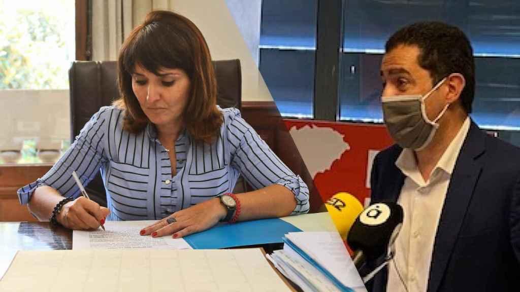 Julia Parra (Cs) y Toni Francés (PSOE), hoy en la Diputación.
