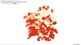 Porcentajes de medidas de radón por encima de los 300 bequerelios en Galicia por concello.