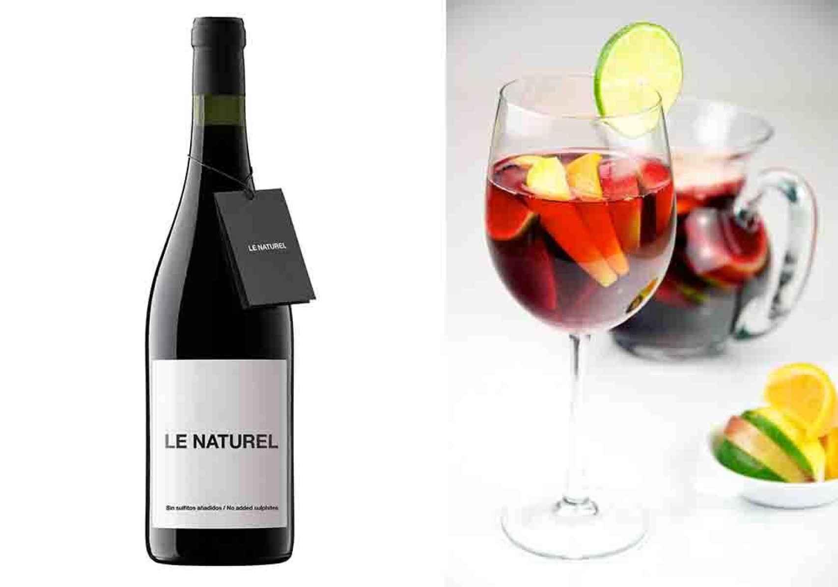 Sangría tinta con vino Le Naturel de Aroa Bodegas.