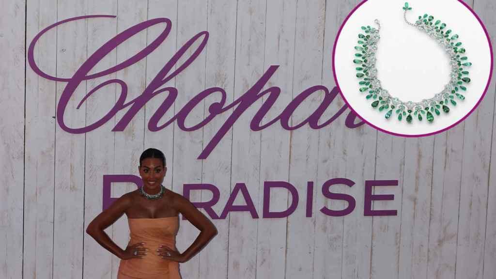 Georgina Rodríguez en la cena de Chopard en Cannes y su impresionante collar de esmeraldas.