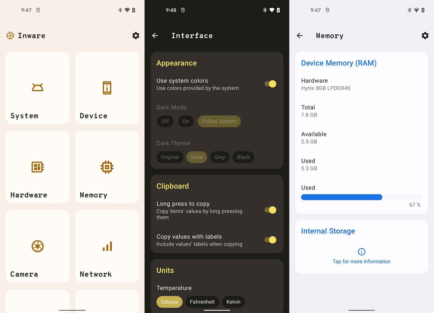 Inware con Material You de Android 12