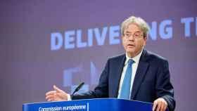 El comisario de Asuntos Económicos, Paolo Gentiloni, durante la presentación de la tasa al CO2 en frontera.