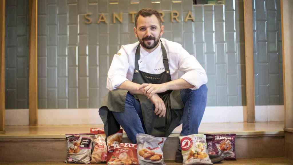 Los seis paquetes de las croquetas probadas por Miguel Carretero, chef ejecutivo del Restaurante Santerra.